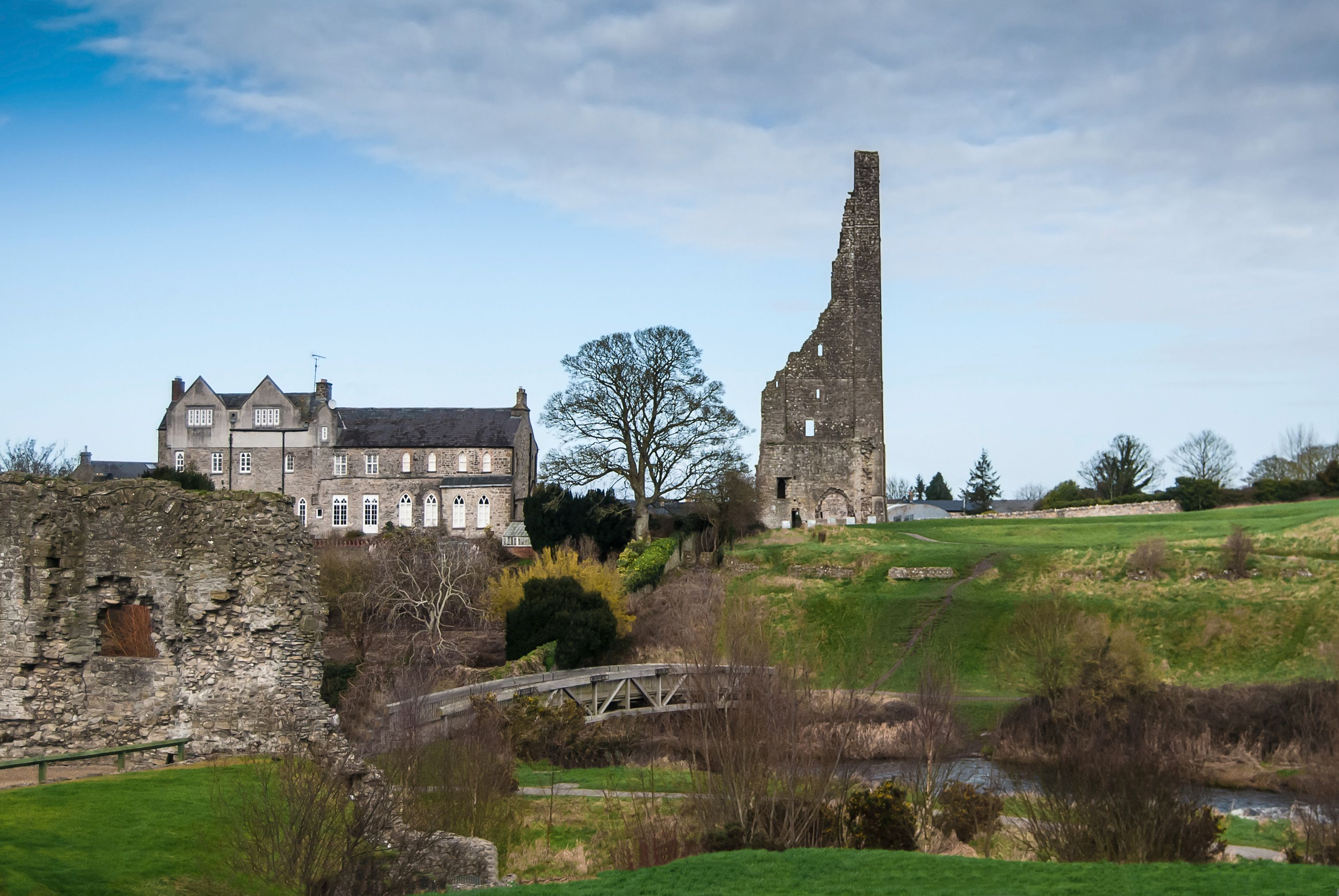 St Mary's Abbey & Yellow Steeple, Trim, Co. Meath. View from Trim Castle, Ireland