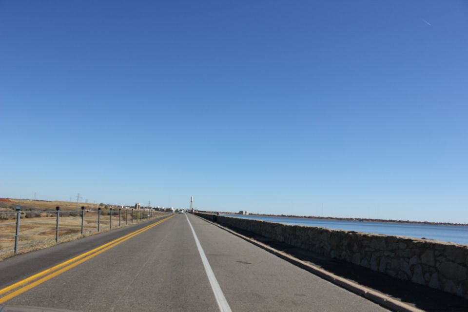 View of Lake Hefner on the right along Northwest Expressway in Oklahoma City, Oklahoma