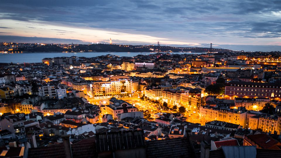 The city of Lisbon at night