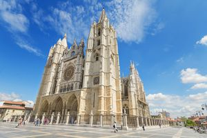 The famous cathedral in Leon, Spain