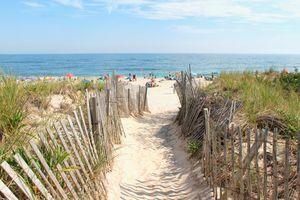 Beach entrance at a Hamptons beach