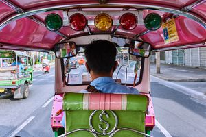View from the back of a tuk-tuk in Thailand