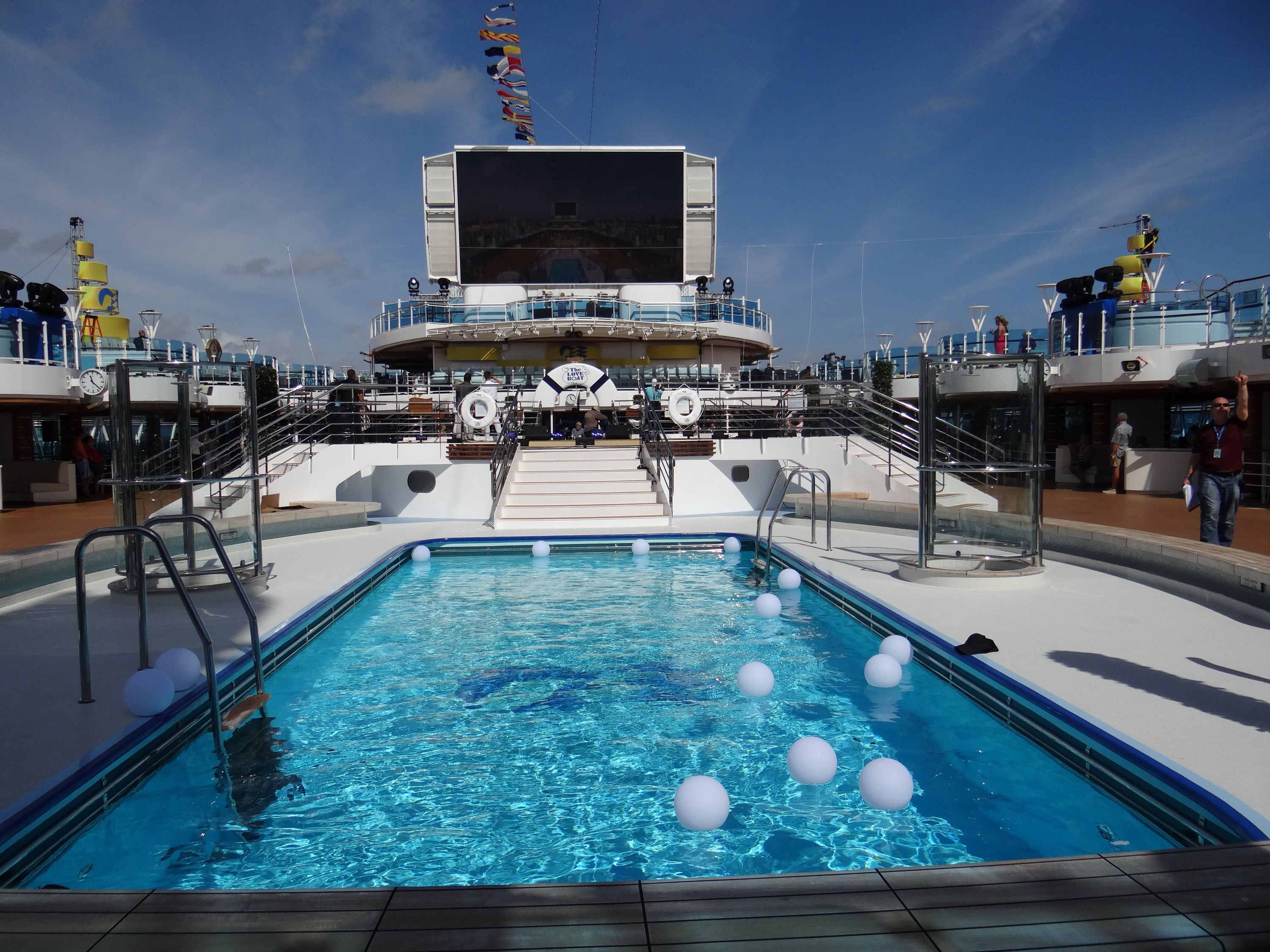 The pool and screen on the Regal Princess Lido Deck Pool