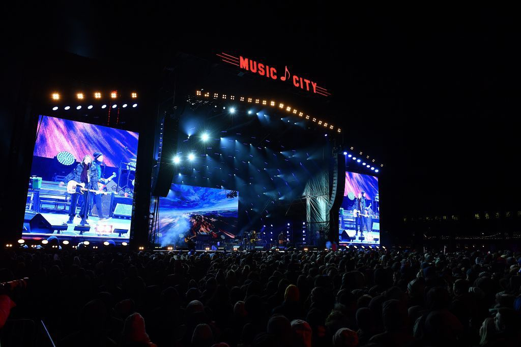 Recording Artist Keith Urban performs on stage during Jack Daniel's Music City Midnight: New Year's Eve in Nashville