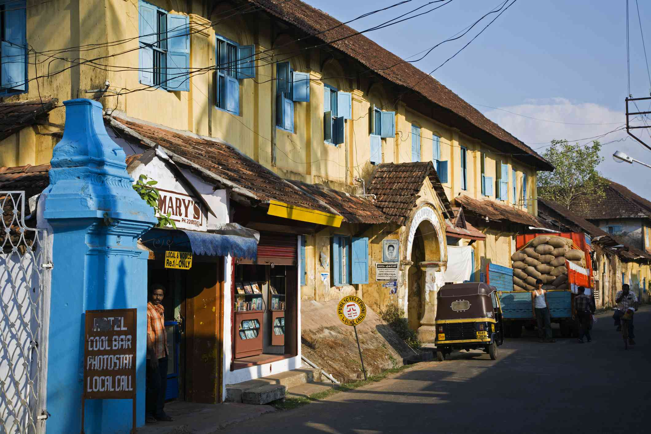 Street lined with spice warehouses in Mattancherry