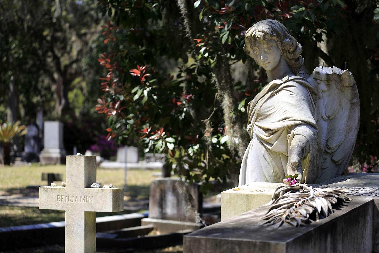 Tomb statue at Bonaventure Cemetery.