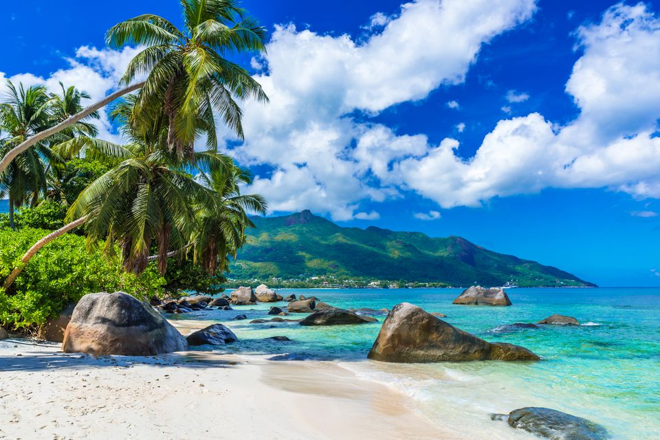 Baie Beau Vallon - tropical beach on island Mahe in Seychelles