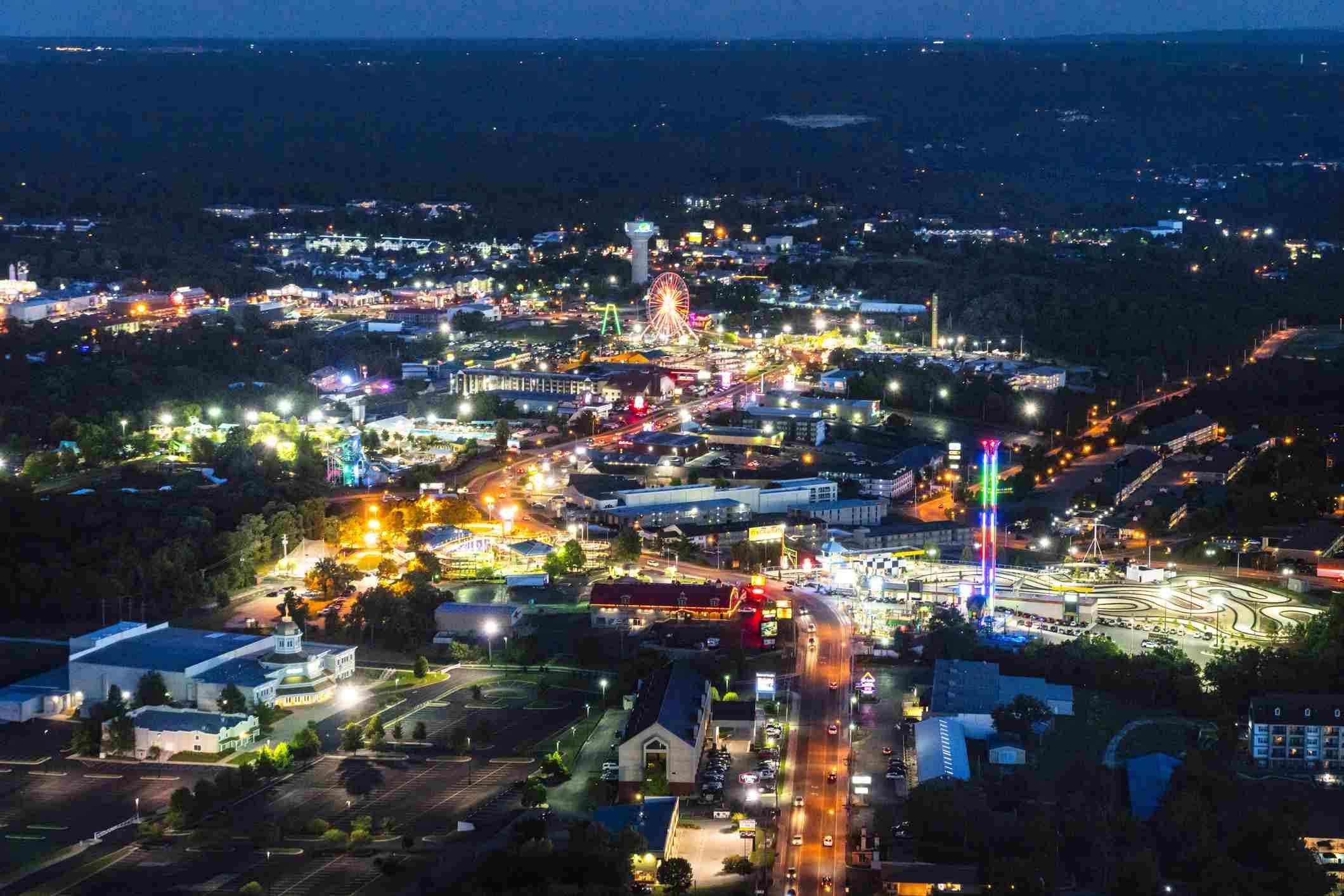 Nighttime Aerial View of Hwy 76, Branson Missouri