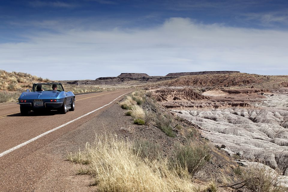 1967 Chevrolet Corvette driving in the Petrified Forest
