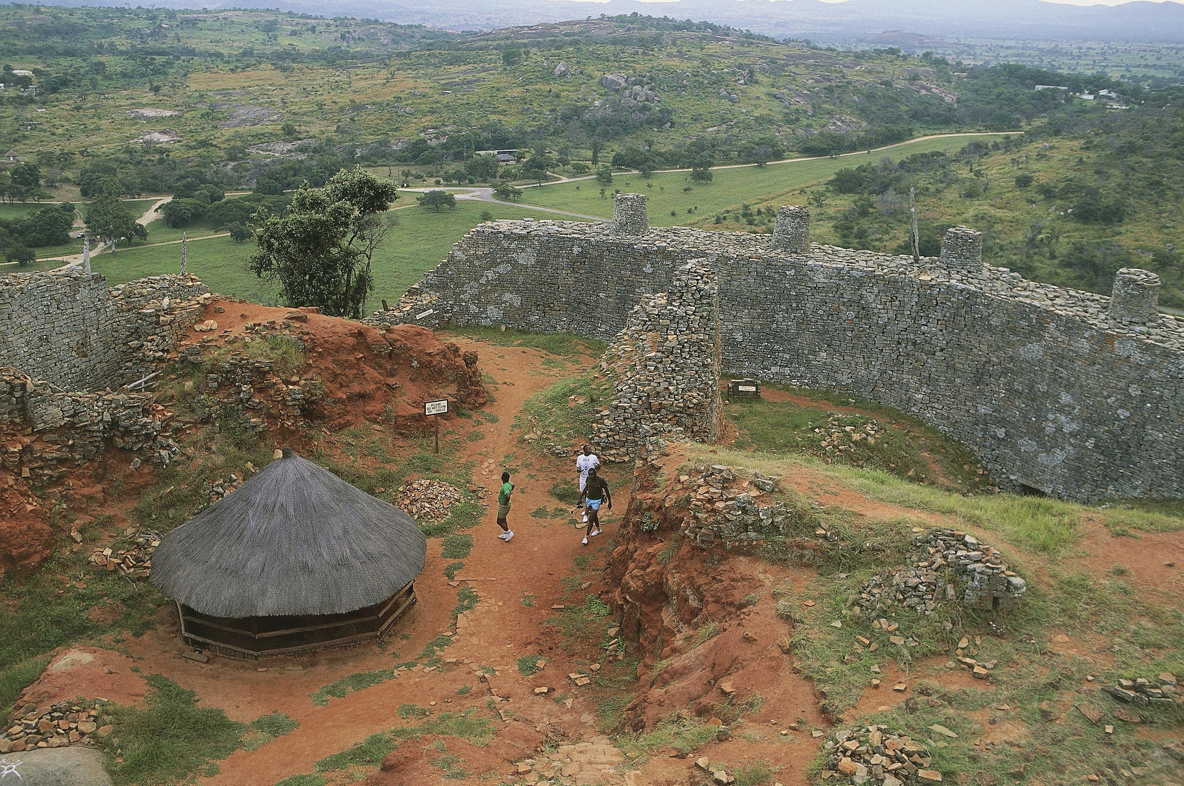 High angle view of ruins of a fortified wall, Great Zimbabwe, Zimbabwe