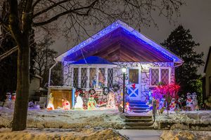 A house in Minneapolis decked out for the holidays.