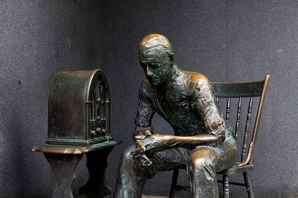 'Glued to FDR on the radio' sculpture sits inside the Franklin Delano Roosevelt Memorial site on April 10, 2015 in Washington, D.C.