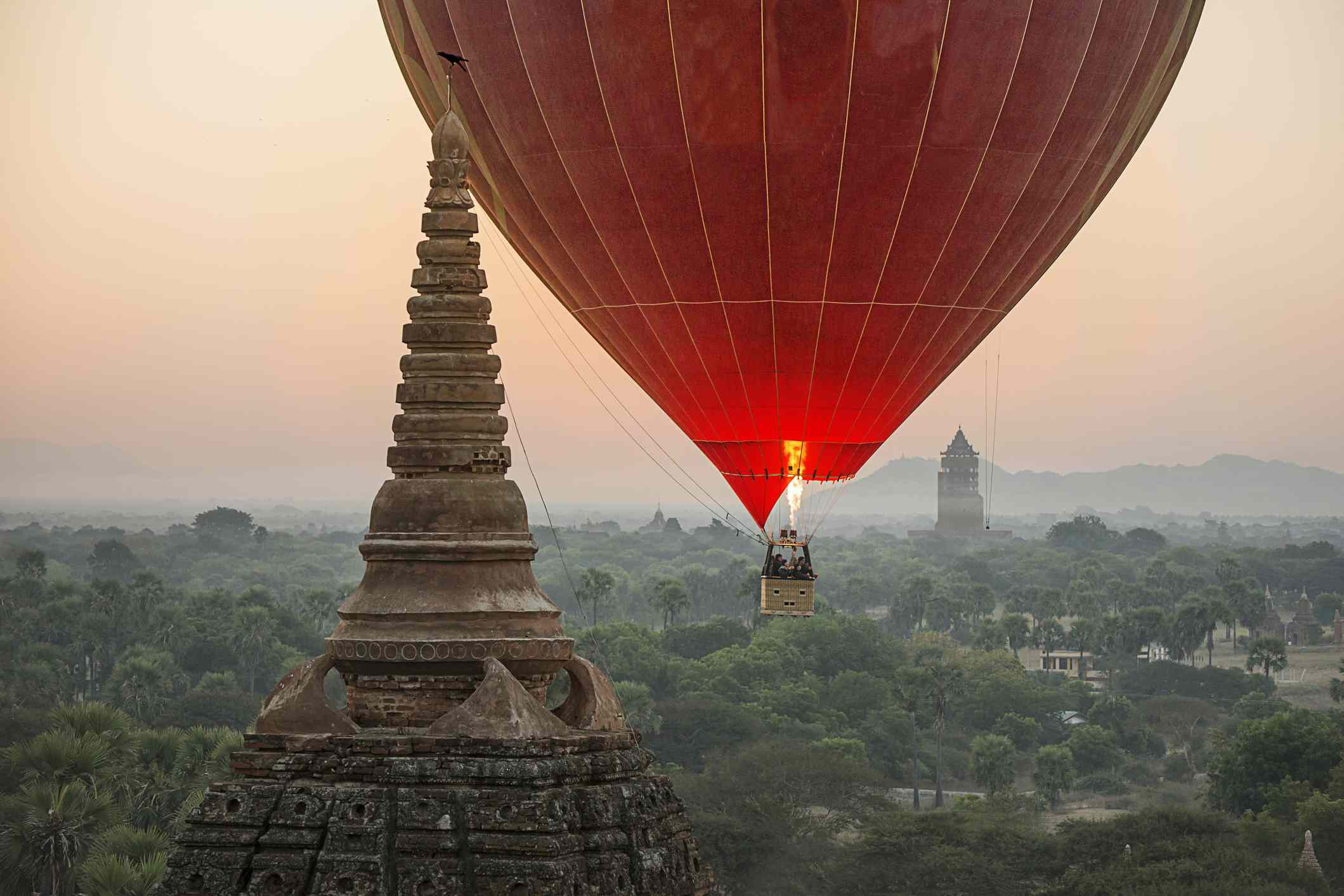 Hot air balloon over Bagan temple, Myanmar