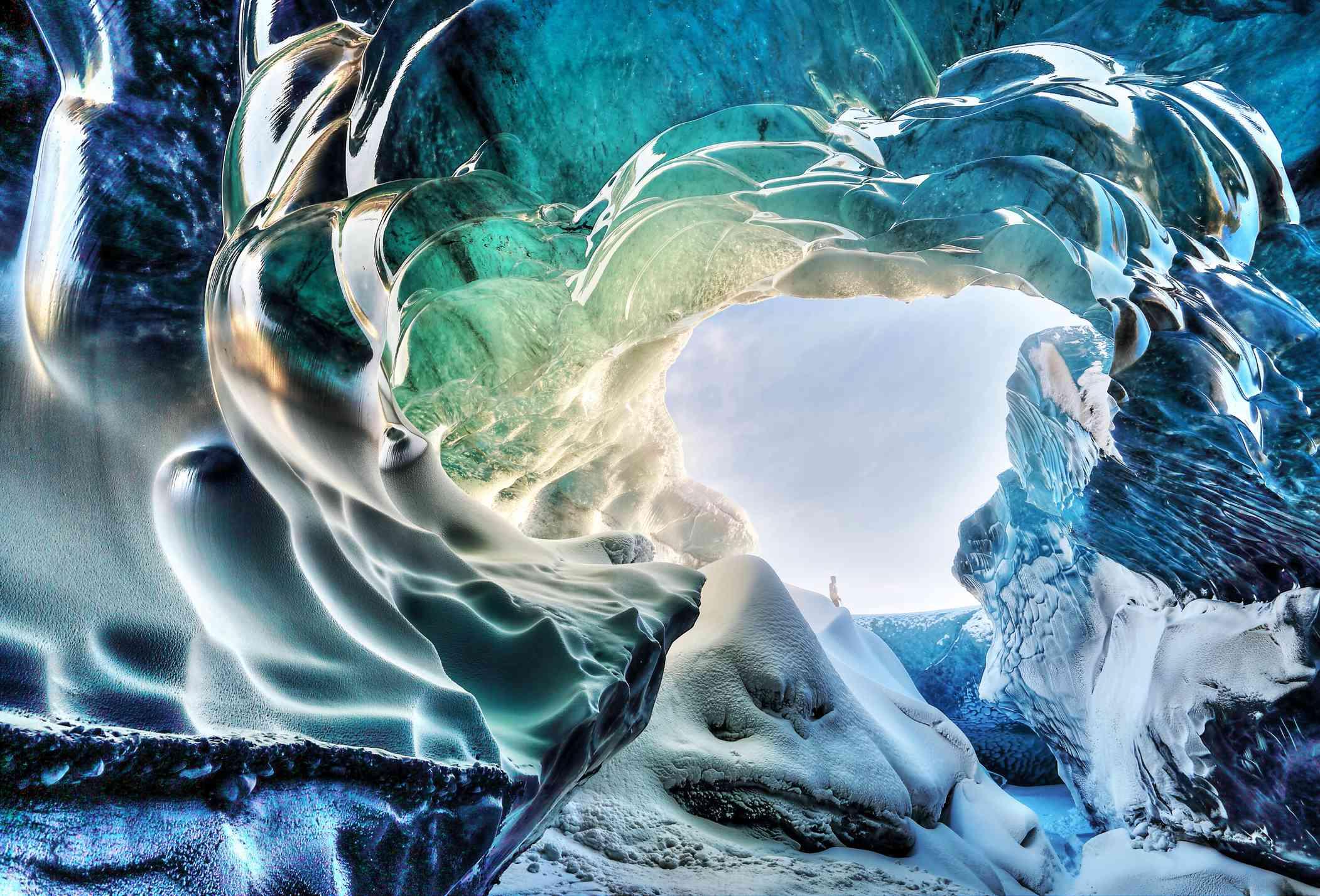 Breidamerkurjokull ice cave in Iceland