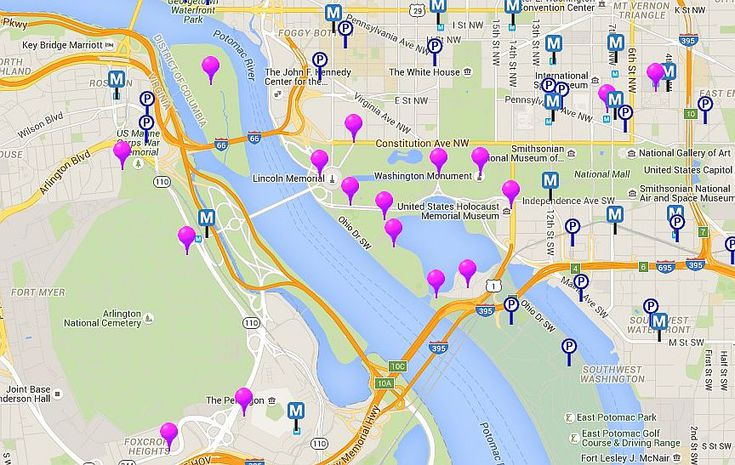 Map of Monuments and Memorials in Washington, D.C. Map Of Washington Dc Mall on