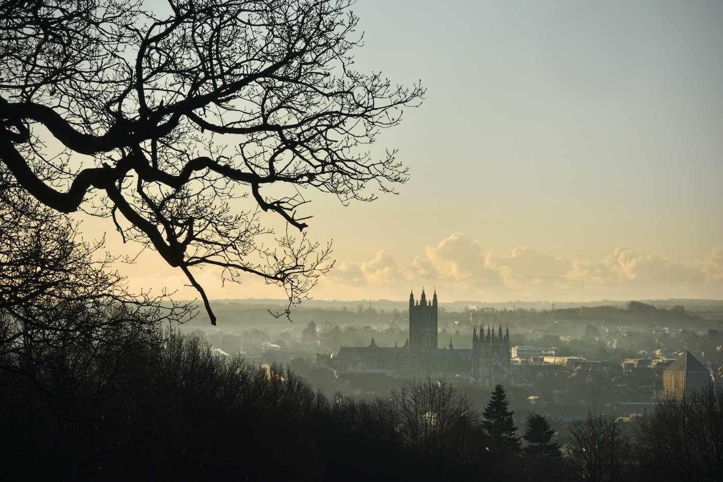 Canterbury Cathedral in the early morning mist