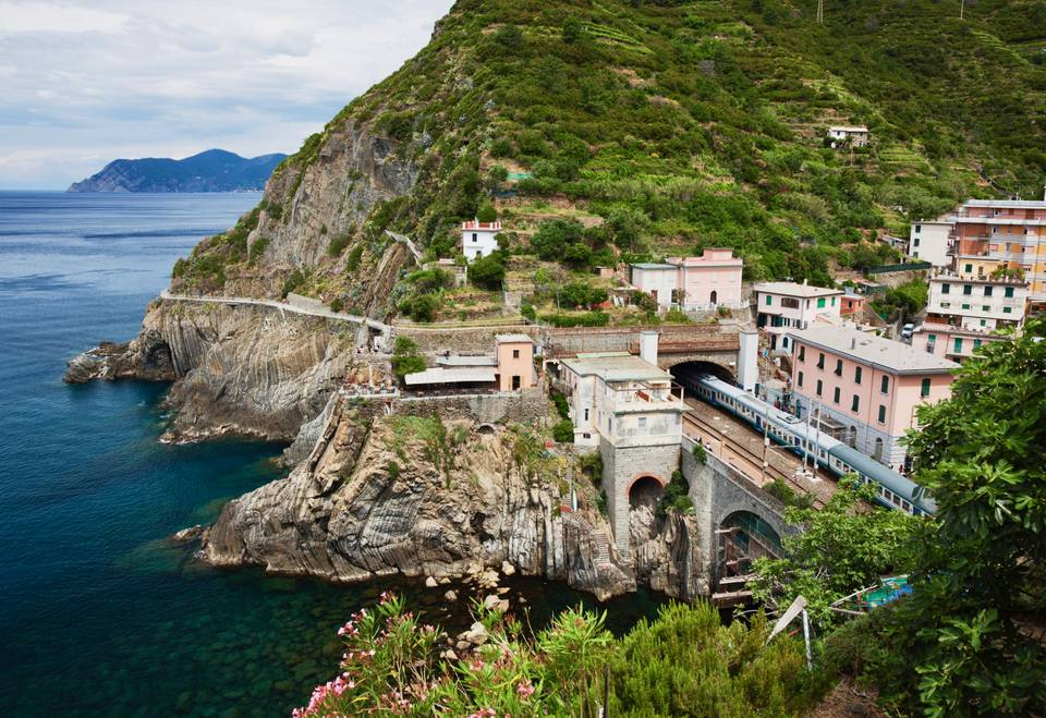 Italian train with Cinque Terre view