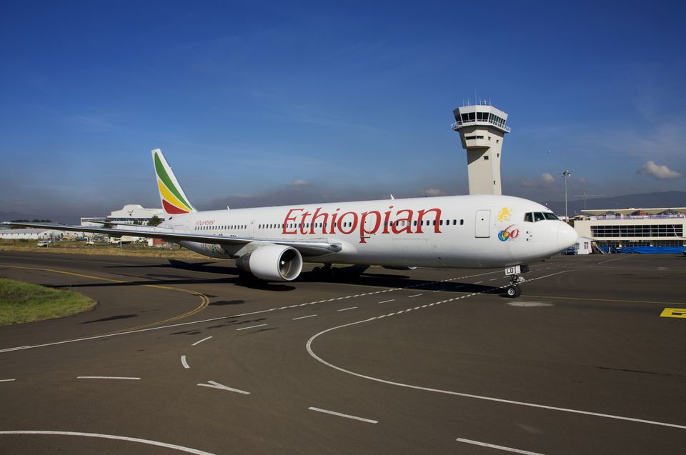 Ethiopian Airlines plane on the tarmac at Addis Ababa Airport