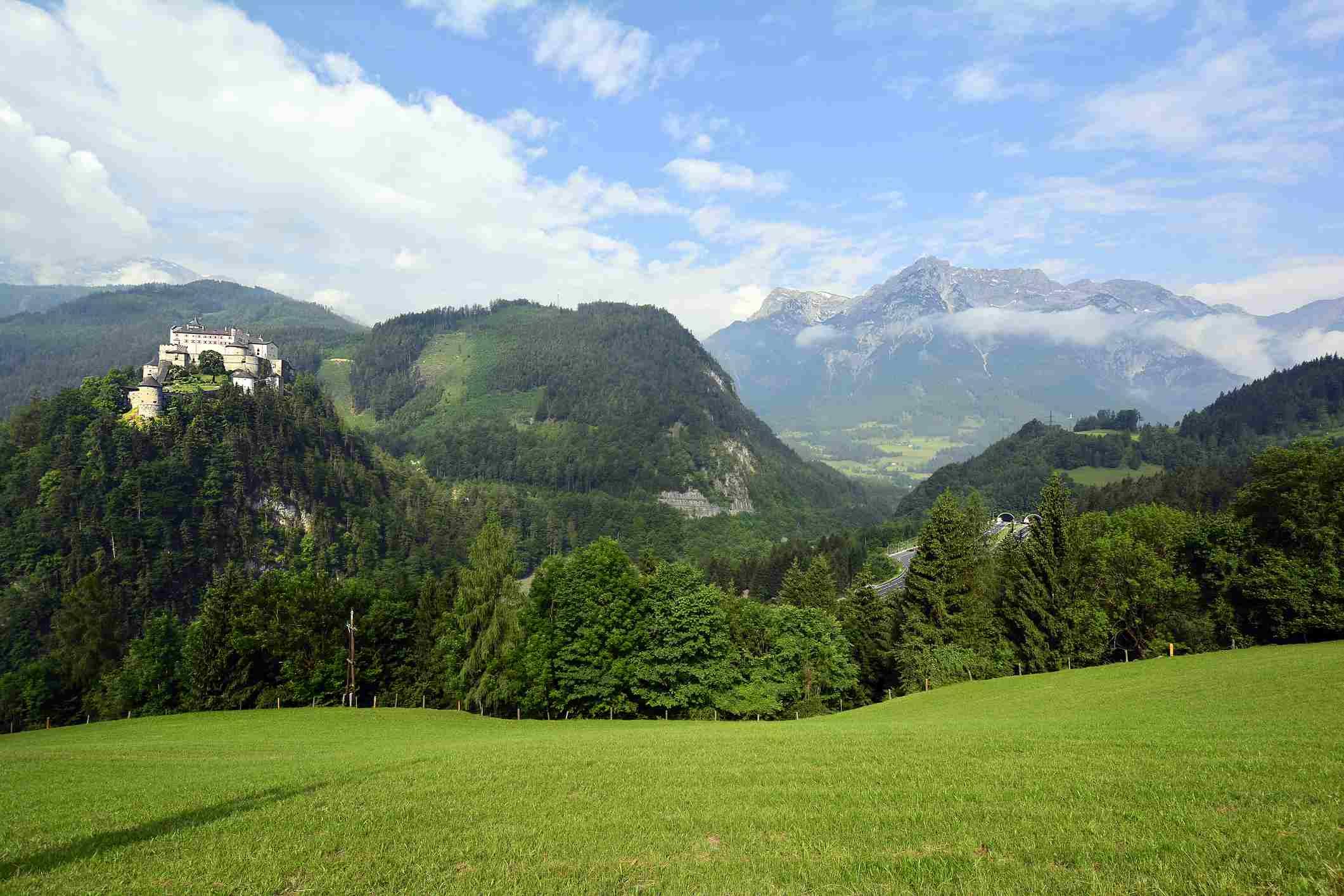 hill in werfen austria with fortress hohenwerfen in the background
