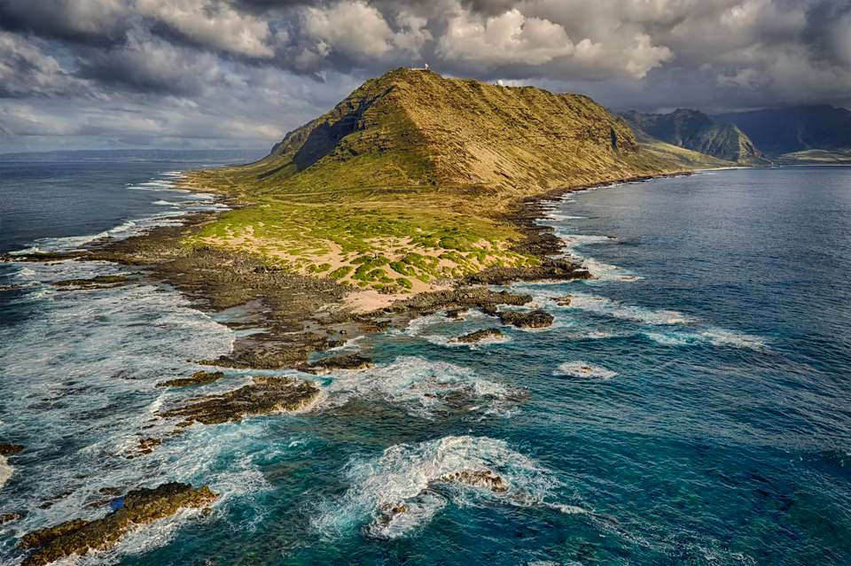 Arial view of Ka'ena Point State Park on Oahu