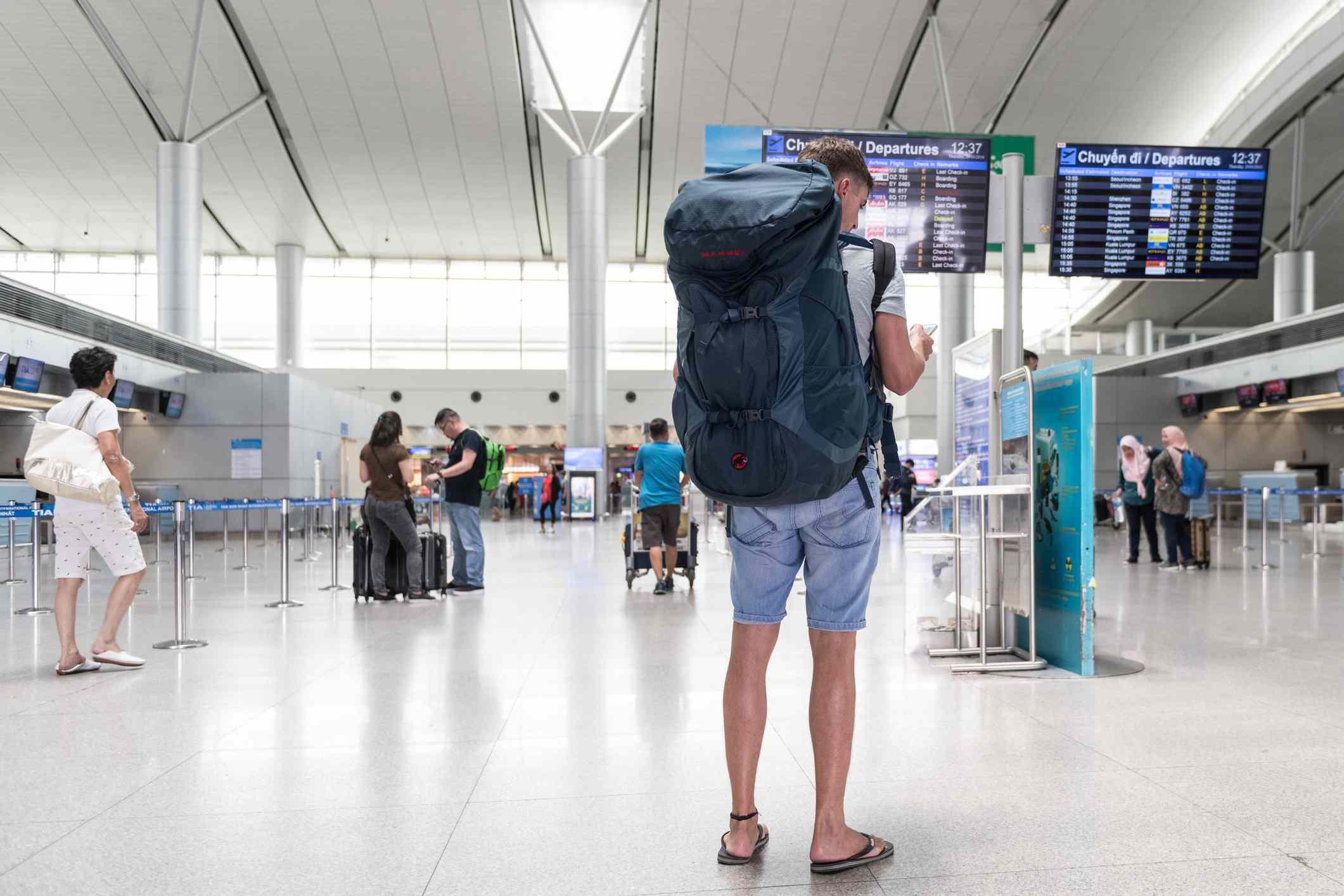 Backpacker at Noi Bai Airport, Hanoi