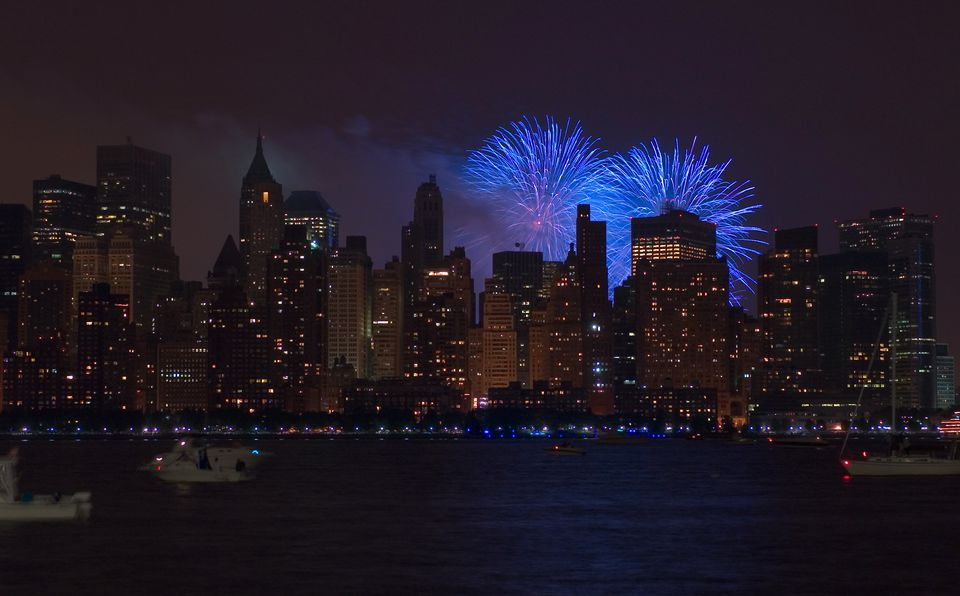 Fuegos artificiales del 4 de julio en Manhattan
