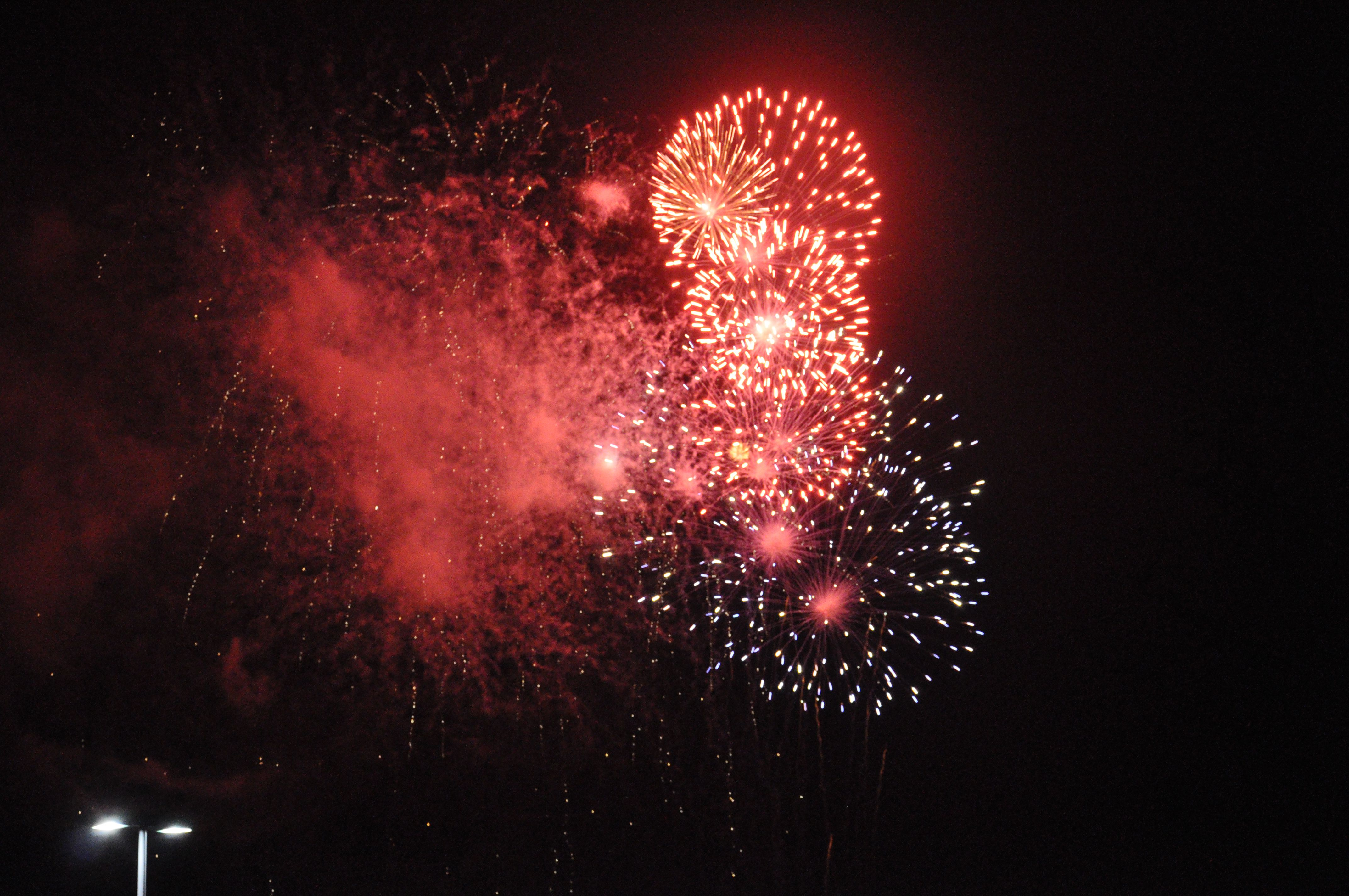 Fireworks over Lake Grapevine in Texas