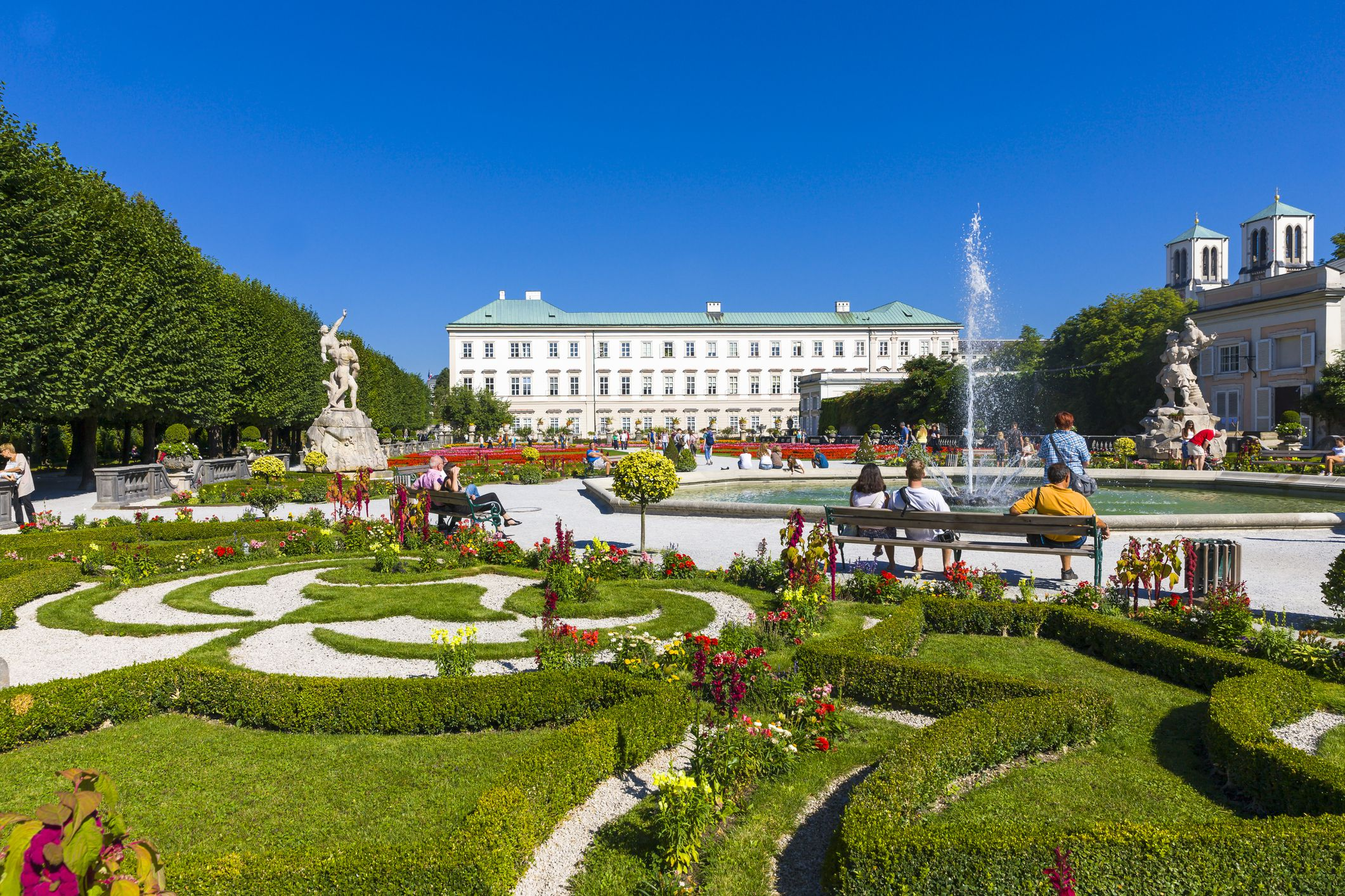 Mirabell Palace Gardens and fountain