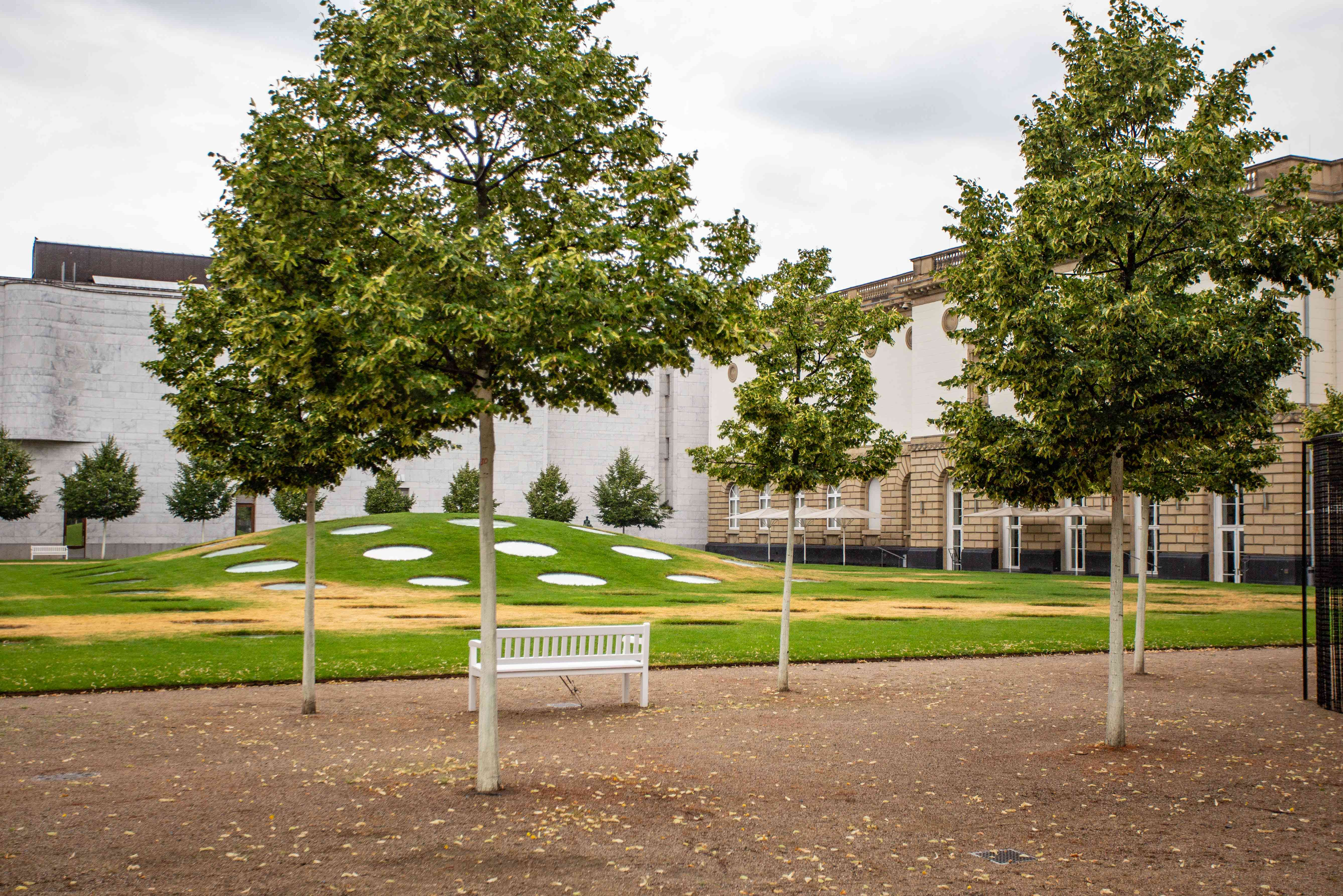 A courtyard with environmental art at Stadel Museum