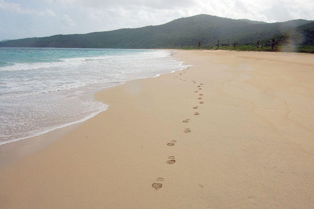 Footprints in the sand on Playa Resaca