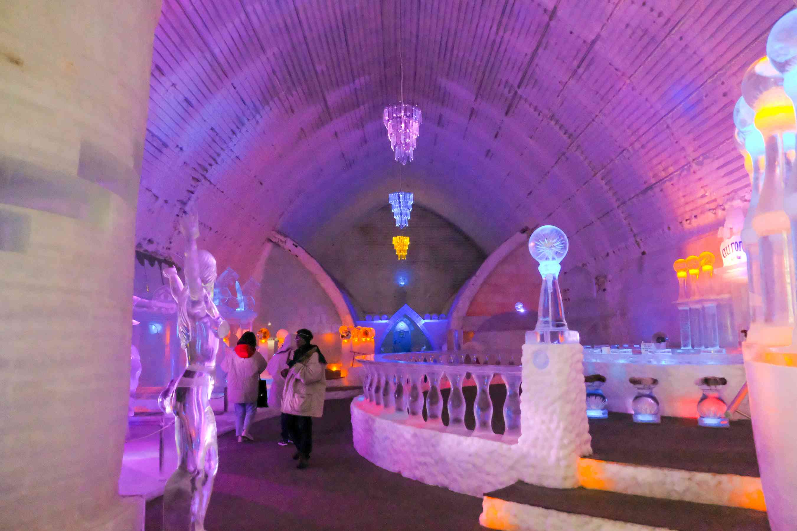 Giant ice sculptures inside the Ice Museum