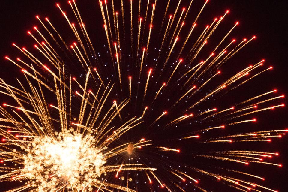 Firework display at night, Annapolis, Maryland, USA