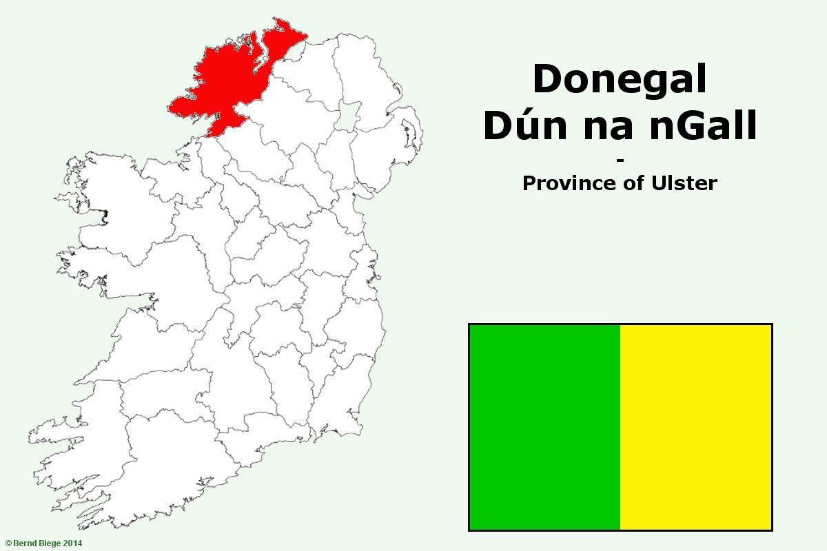 Condado de Donegal en el mapa de Irlanda