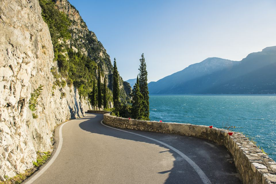 The iconic mountain road SP38 called Strada della Forra (Forra Road) in Lake Garda