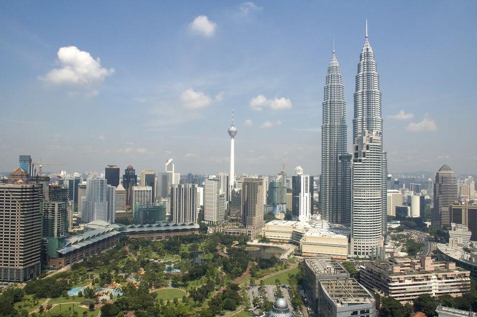 Kuala Lumpur skyline with Petronas Towers in Malaysia