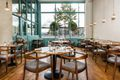 Interior of fine dining restaurant with bright natural light