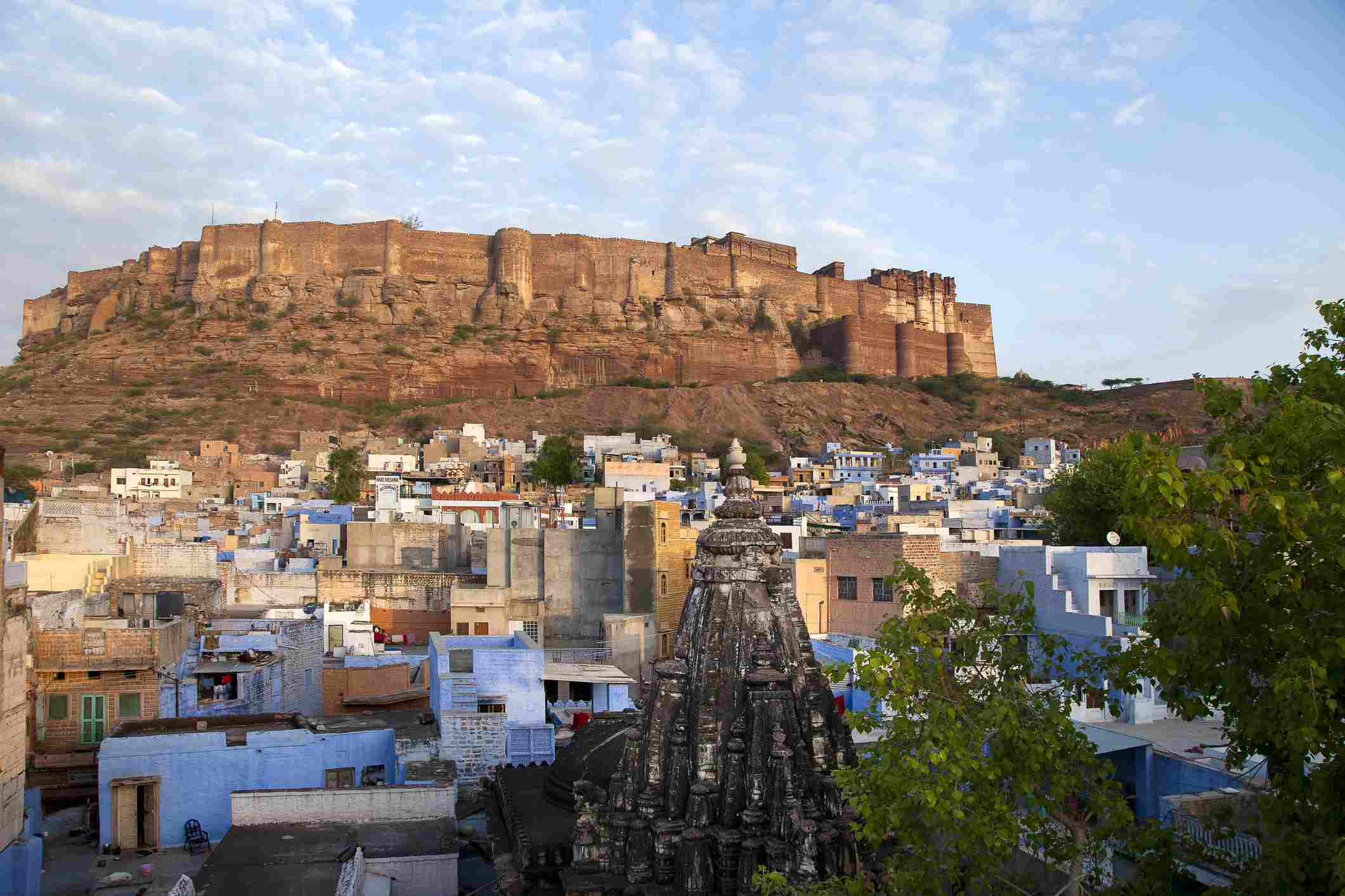 View of the blue houses and Meherangarh fort in Jodhpur
