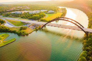 Pennybacker 360 bridge, Colorado River, Austin Texas, aerial panorama