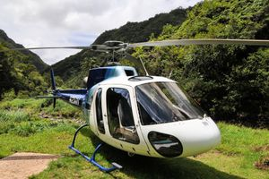 Island Helicopter's Eurocopter A-Star Helicopter as seen on a Jurassic Falls Landing Adventure