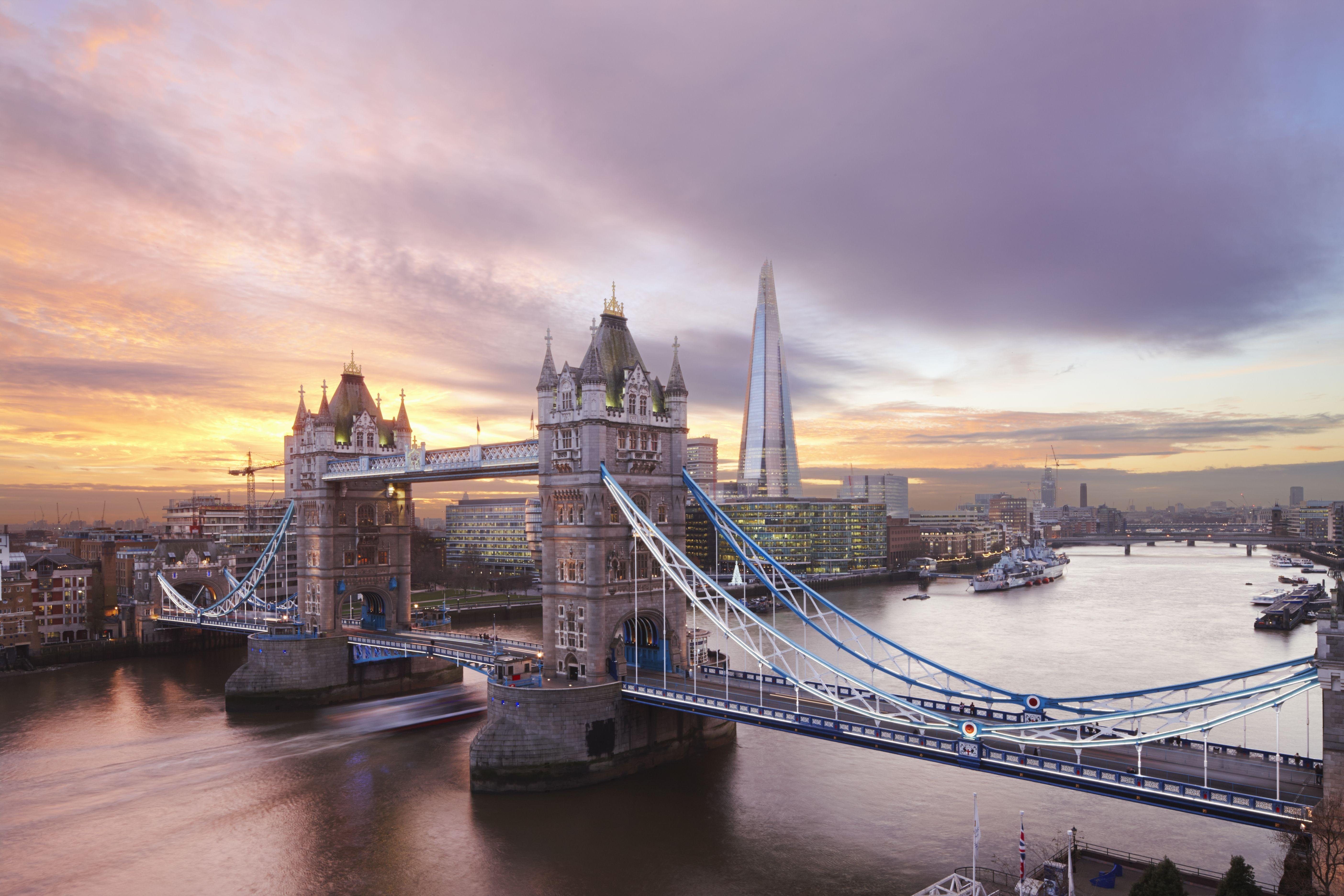 Tower Bridge and The Shard at sunset, London