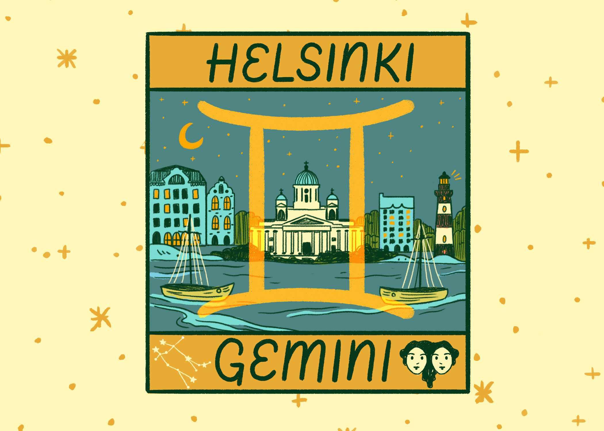 Illustration of Helsinki and Gemini
