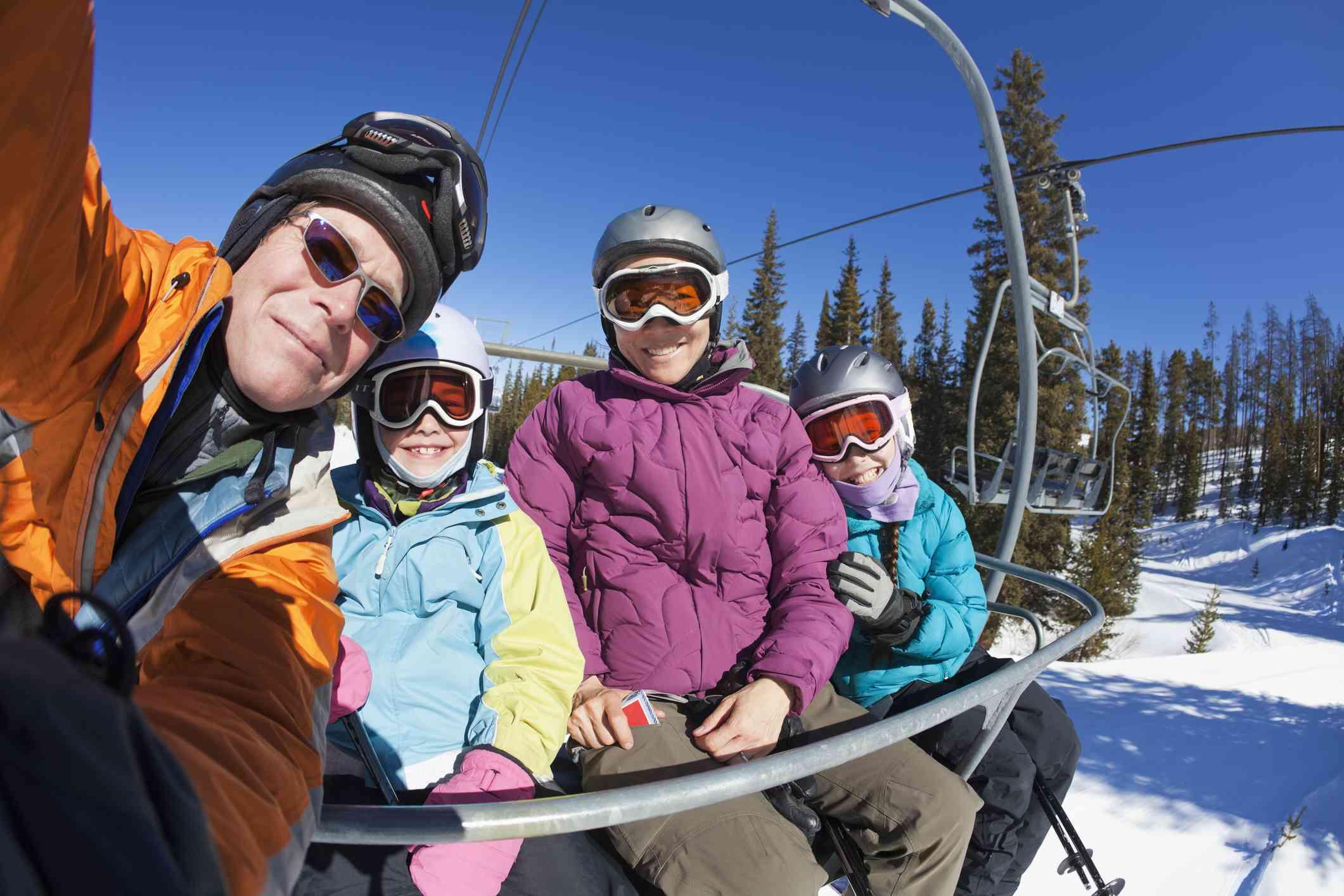 Family on ski lift