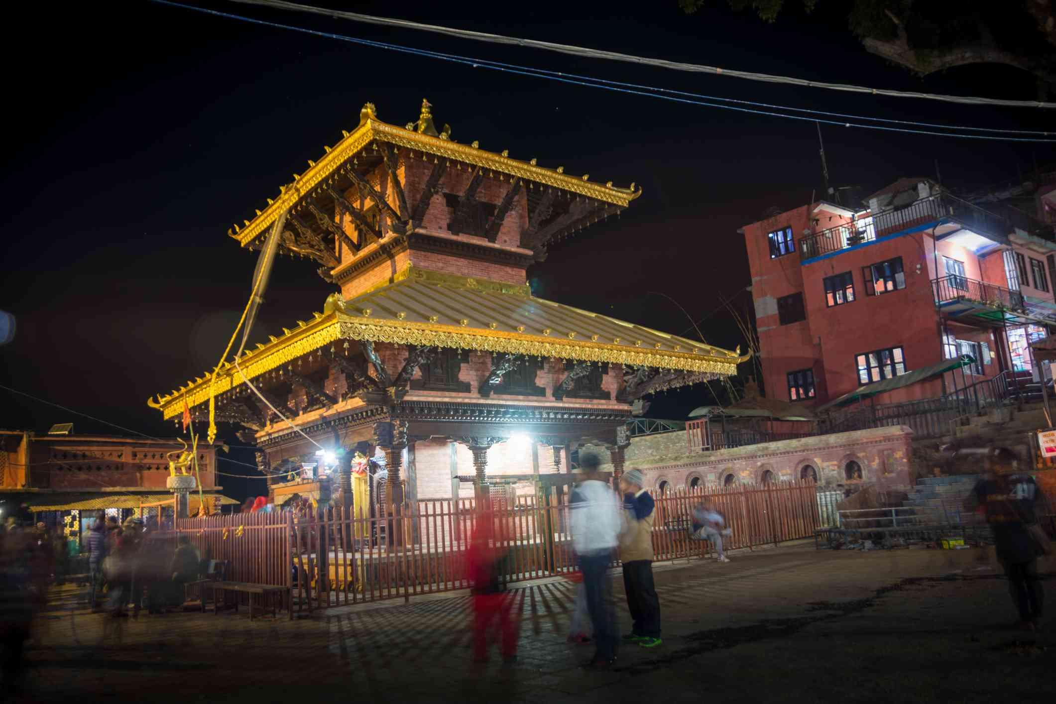 pagoda temple lit up at night