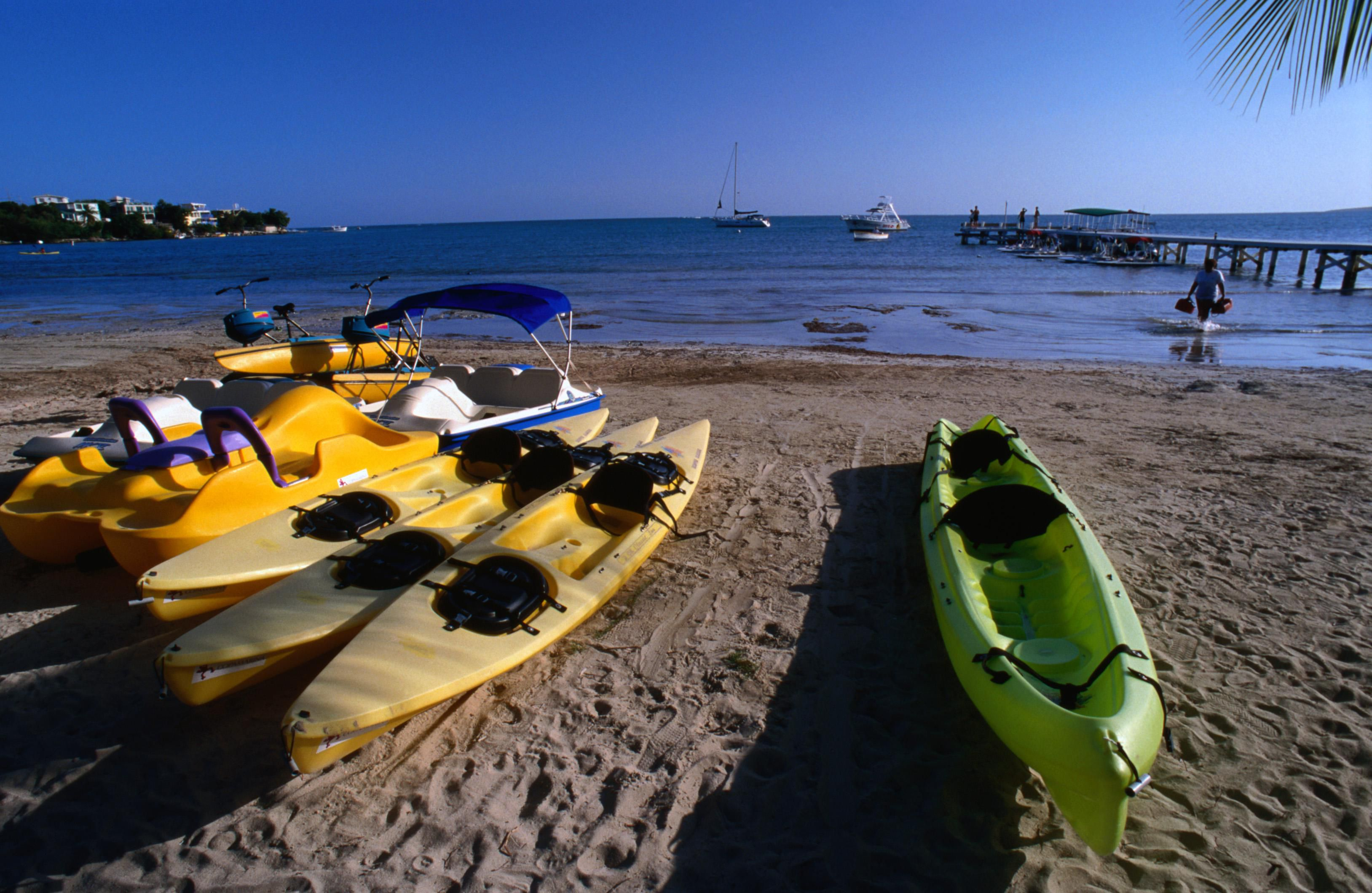 Kayaks wait for passengers Fajardo, Puerto Rico, Central America