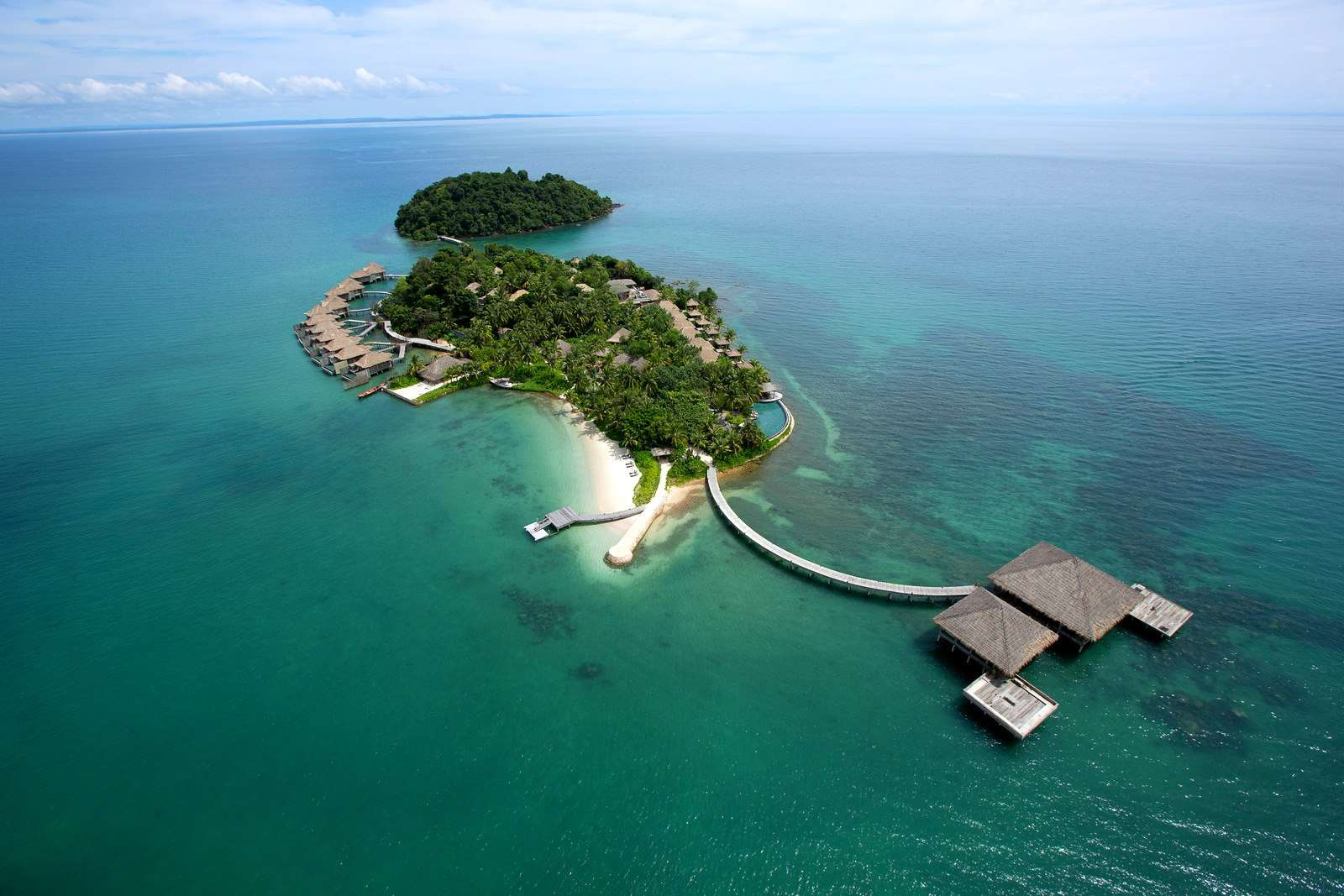 Aerial shot of private Island Song Saa