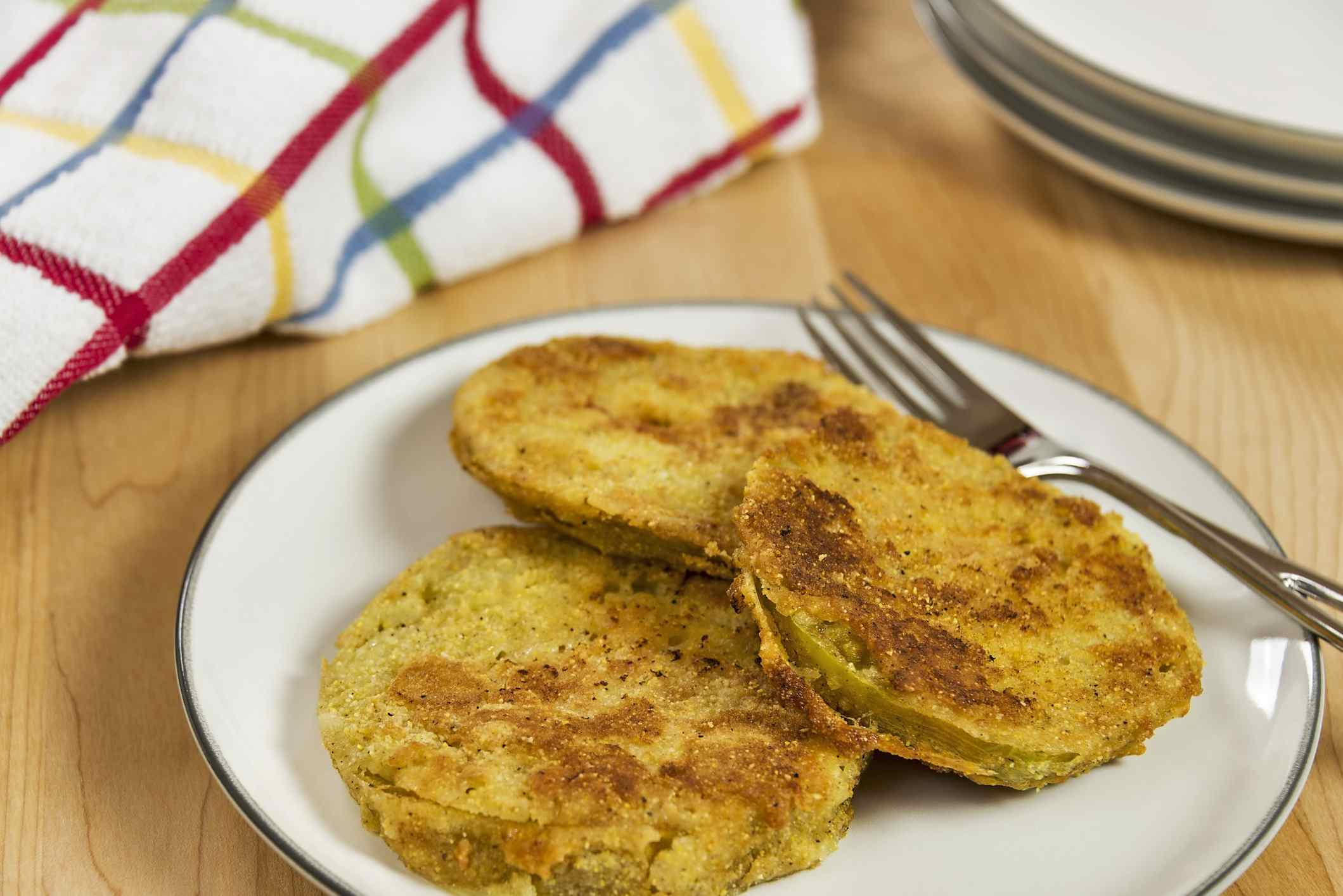 A plate full of delicious fried green tomatoes