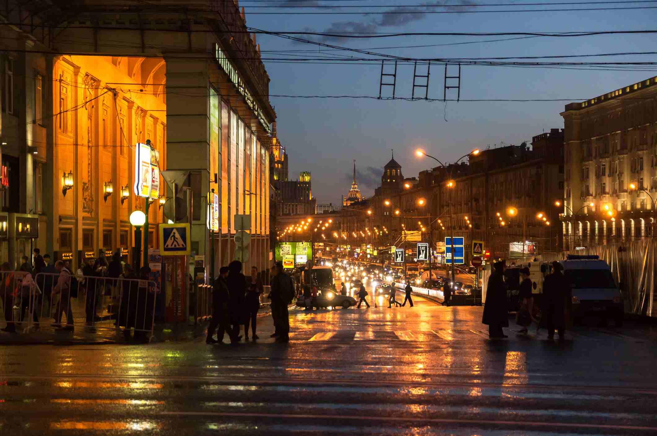 Triumfalnaya Square (former Mayakovsky Square) at night, central Moscow, Russia