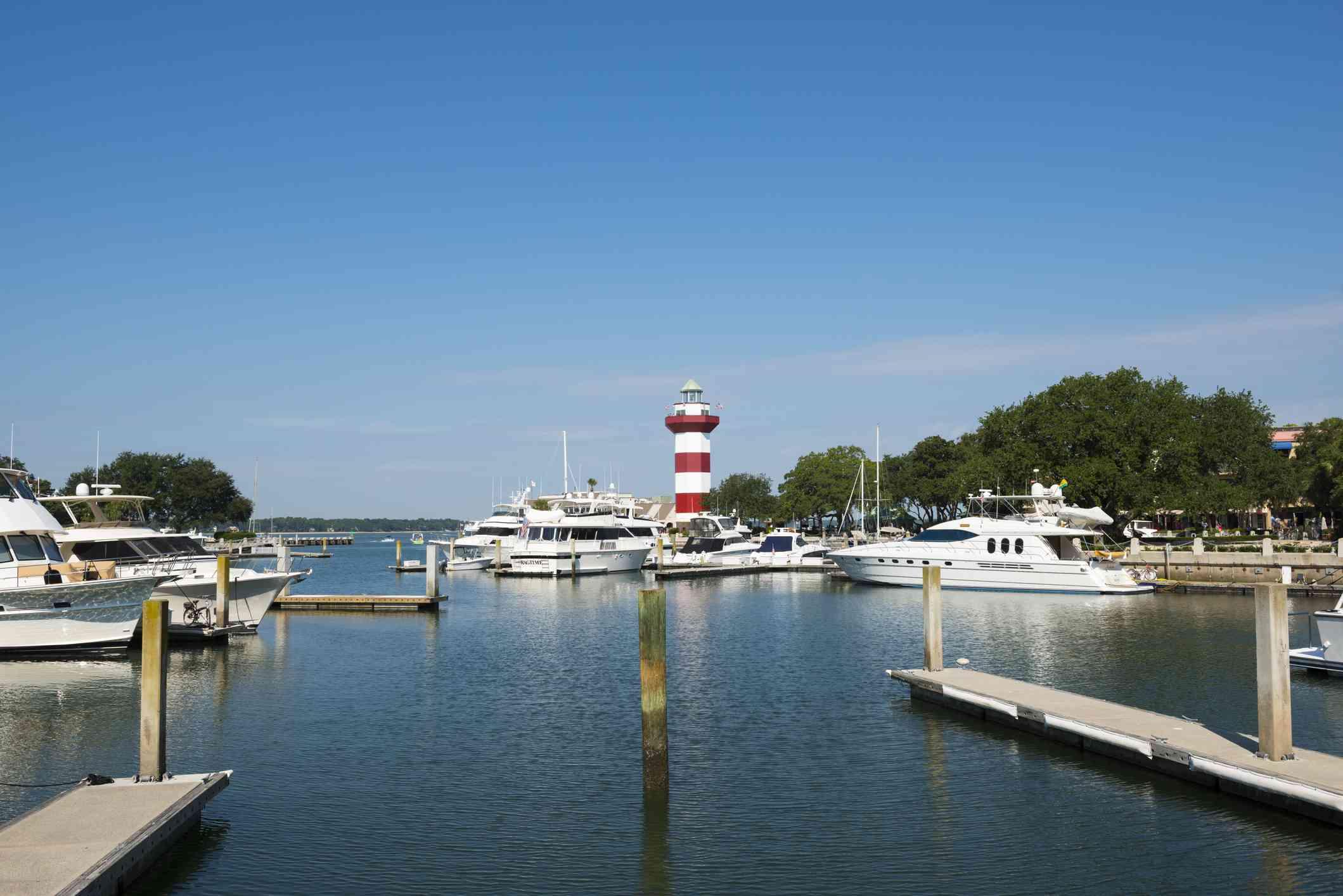 Marina and lighthouse on Hilton Head Island, South Carolina