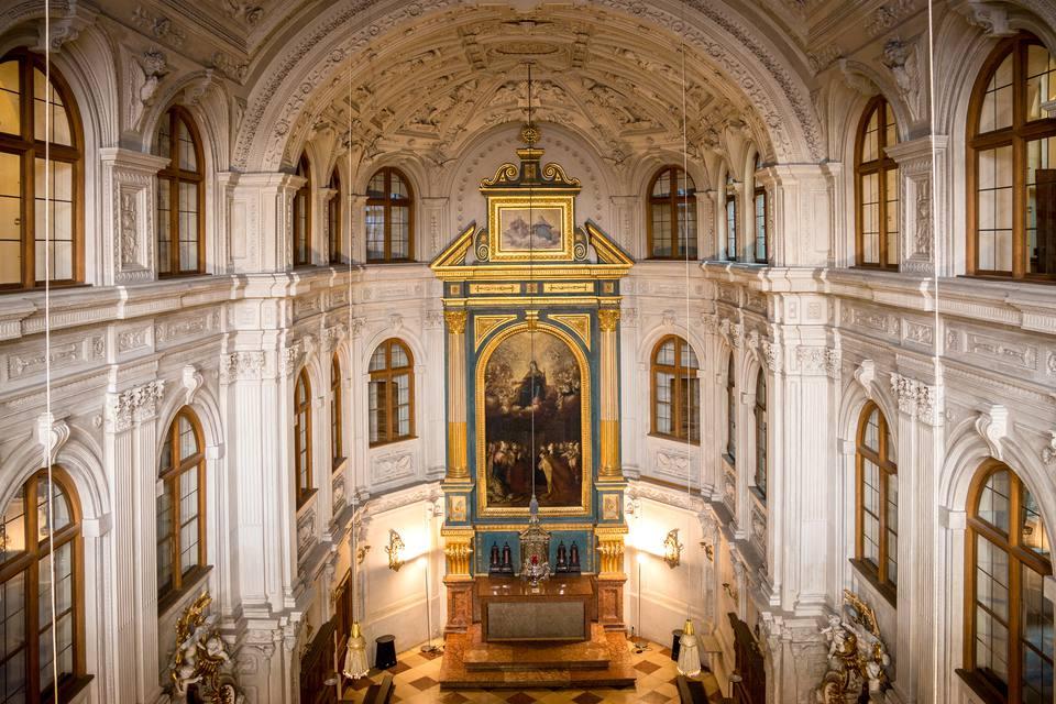 Interior de la capilla de la corte de Munich Residenz, Munich, Alemania