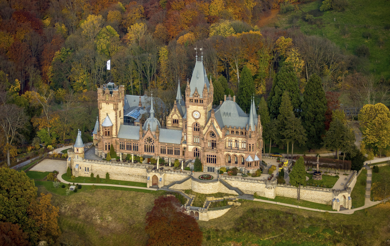 Drachenburg Castle in autumn, Koenigswinter, Rhine Valley, North Rhine-Westphalia, Germany